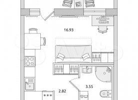 Квартира на продажу студия, 29.6 м2, Санкт-Петербург, метро Комендантский проспект
